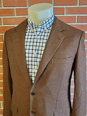 """Brioni Houndstooth 2-Button Mens 42"""" L Nomentano Brown Wool (Moth Holes) Blazer"""
