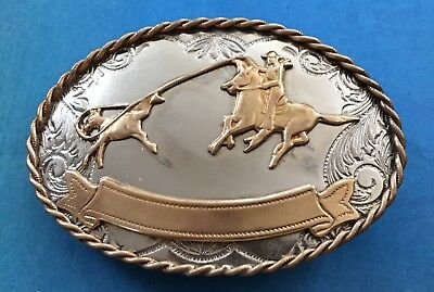 VTG German Silver **CALF ROPING** Cowboy Trophy Belt Buckle-Western, Rodeo Horse