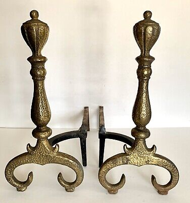 Antique Set Heavy Cast Iron Fireplace Andirons Fire Dogs Hammered Brass Finish