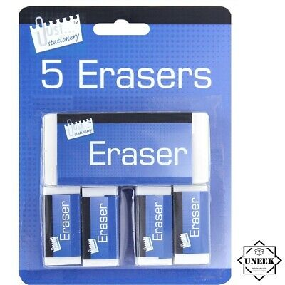 WHITE ERASERS 5 PACK Soft White Pencil Rubber School Art Drawing Artists T6340UK