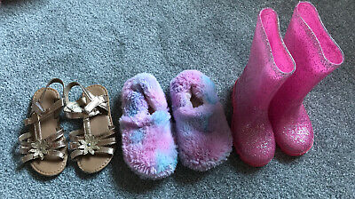 Girls Shoe Bundle Sandals Slippers Wellies Size 9 And 10 Nutmeg