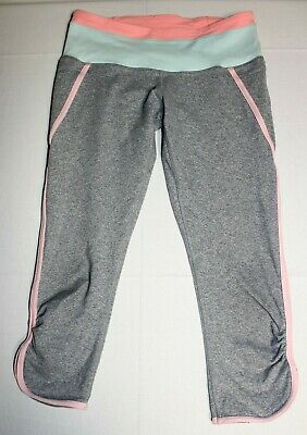 Girls Ivivva by Lululemon Quick Trick Capris Crops Leggings Sz:14 Gray Pink