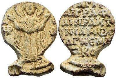 FORVM Byzantine Lead Seal 11-12 C AD w/ Virgin Mary Seal Cut To Shape of a Fish