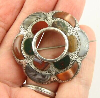 Superb large antique Victorian c 1890 sterling silver Scottish agate brooch pin
