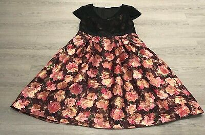 Pretty PER UNA MARKS AND SPENCER Pink Black Floral A Line Occasion Dress UK 18