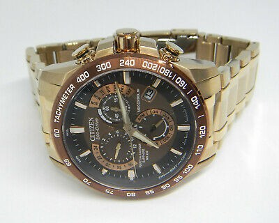 Citizen Perpetual Chronograph A T Rose Gold Tone Eco-Drive Watch AT4106-52X
