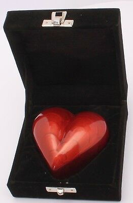 Mini Cremation Urn For Ashes Funeral Memorial Small Red Heart Keepsake & box