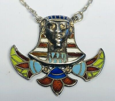 Antique 1920s Deco Enamel on 925 Silver Egyptian Revival Pharaoh Pendant & Chain