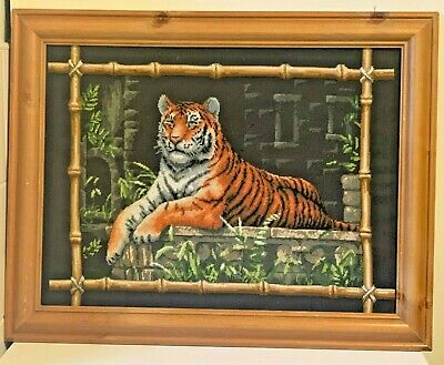 Vintage Wool Needlepoint Tiger Embroidery
