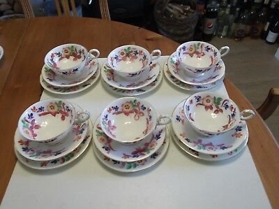 """6 ANTIQUE COLLINGWOODS TEA TRIO's HAND PAINTED """"FOR WARING & GILLOWS LONDON"""""""