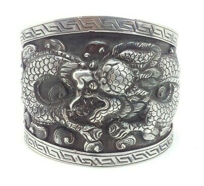 """Chinese Export Dragon Repousse Sterling Silver 925 Bracelet 70g 7"""" JOY844"""
