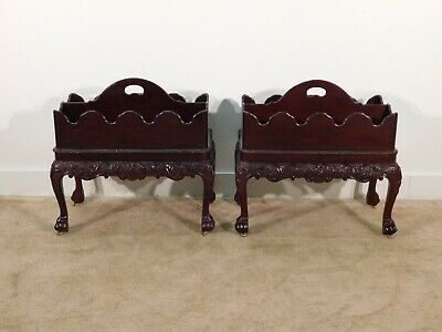 Pr Mahogany Baker Furniture Company Chippendale Rococo 2 Piece Canterbury Stands