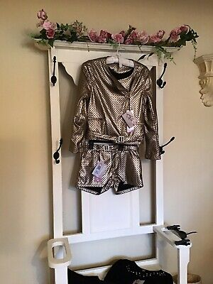 💕stunning KATE Mack Gold Outfit Jacket Shorts Top Leggings RRP £190 Age12-13-14