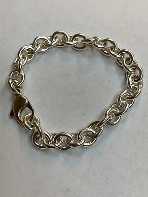 """Authentic Tiffany & Co 925 Sterling Silver Charm 7"""" Bracelet Great Condition"""