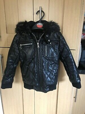 River Island Girls Winter Faux Leather Jacket Age 3 Years Ex Condition