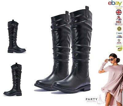 Womens Ladies Faux Leather Knee High Calf Comfy Winter Flat Boots Shoes Size 3-8