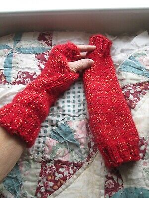 "Mittens Fingerless Gloves Hand Wrist Arm Warmers Hand Knit Red w Gold 12"" New"