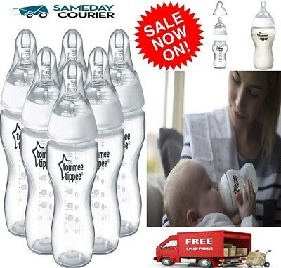Tommee Tippee Closer to Nature 260ml Feeding Bottles 6 Pack Wide Neck Slow Flow