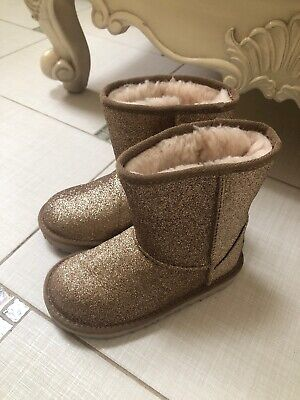 Ugg Gold Glitter Girls Boots Size 11 1098491T New