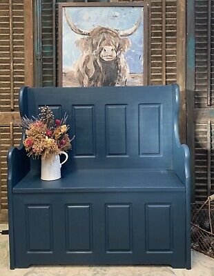 PaInted Pine Hallway Storage Seat Settle, Storage Bench Church Pew *Delivery