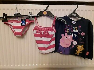 New With Tags Girls Bundle Peppa Pig L/S Top And Bikini Age 18/24 Months