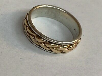 😍James Avery 14kt Yellow Gold & .925 Sterling Braided Band Ring Size 9. RETIRED