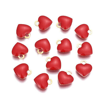 10x Brass Charms Enamelled Sequins Nickel Free Real Gold Plated Heart 10x9x2mm