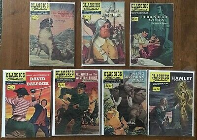 Lot of 7 Classics Illustrated Comics, All 1st Prints, GD/VG to VG/FN, HRNs below