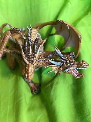 Golden Dragon Papo Two Headed Dragon Figure Gold Medieval Realistic Creature