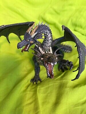 PAPO Two-Headed Winged Dragon Brownish Gray Fantasy Figure Collectible Good Cond