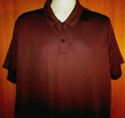 Perry Ellis 2XL Mens Short Sleeve Polyester Maroon Solid Polo Shirt $49.50 NWT