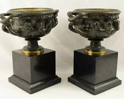 Pair of Antique French Bronze Grand Tour Warwick Urns Compotes Bacchus Masks