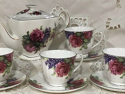 Roses And Violets 6 Cup Teapot With 4 Cups And Saucers A Beautiful Tea Set