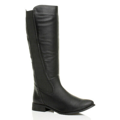 Womens Ladies Winter Fur Lined Flat Low Mid High Heel Buckle Knee Boots Size