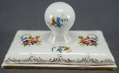 Gebruder Heubach Dresden Style Hand Painted Floral Gold Ink Blotter 1882 - 1905