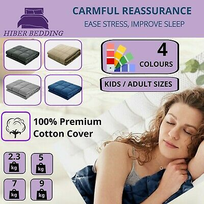 Weighted Blanket Cotton Calming Sensory Stress Relief Therapy 2.3kg 5kg 7kg 9 kg