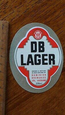1 x 335ml DB LAGER AUCKLAND NEW ZEALAND BEER LABEL..