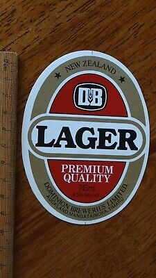 1 x 745ml DB LAGER DOMINION BREWERIES NEW ZEALAND BEER LABEL