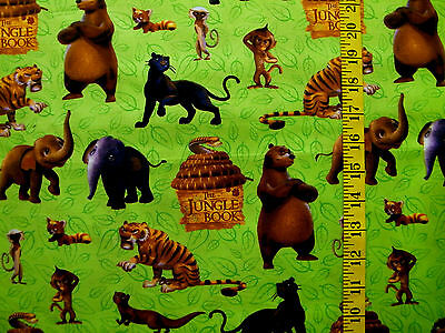 Disney The Jungle Book  Character Print  100% Cotton  Fabric By The 1/2  Yard