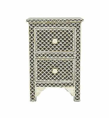 Bone inlay bedside table 2 drawer fish scale pattern indian handmade nightstand