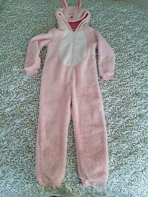 """JOHN LEWIS GIRLS age 8-9 years. Pink Rabbit animal """"all in one""""/fluffy jumpsuit"""