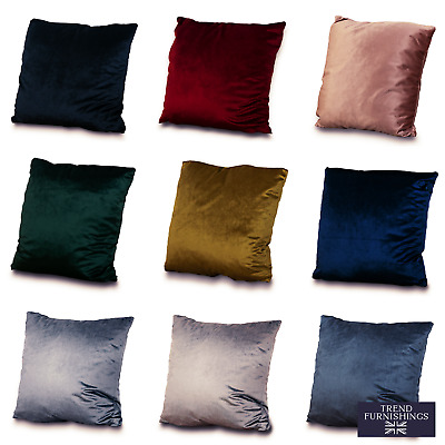 Velvet Soft Plush Cushion Covers 9 Colours Filled or Unfilled Handmade in the UK