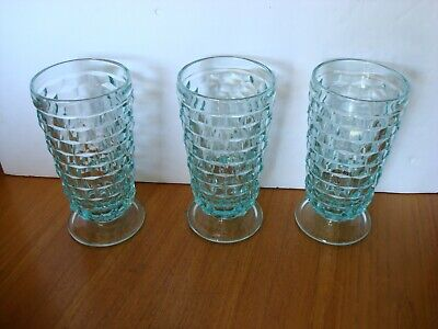 Indiana Glass Blue Whitehall Fostoria Cubist footed Drinking Glasses lot of 3