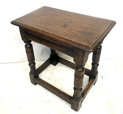 Antique Carved Oak Joint Stool / Occasional Table / Lamp Stand