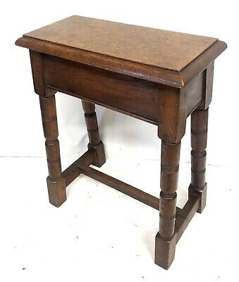 Tall Antique Oak Joint Stool Occasional Table Lamp Stand