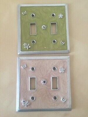 Lot Of 2 Metal Outlet Covers Green And Ivory