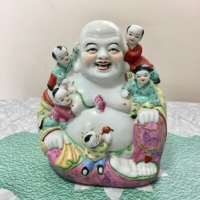 """Vintage Chinese 9"""" Smiling Buddha With Children Porcelain Sculpture"""
