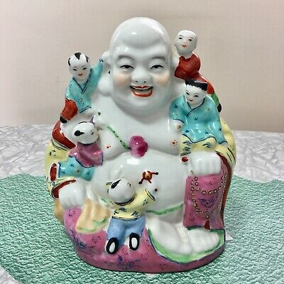 """Vintage Chinese 8.5"""" Smiling Buddha With Children Porcelain Sculpture"""