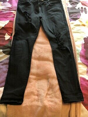 Fab NEXT ripped Black skinny jeans -size 16 Long