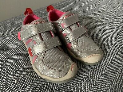 Plae Silver Shoes Girls Size 11 AFO Shoes Tabs